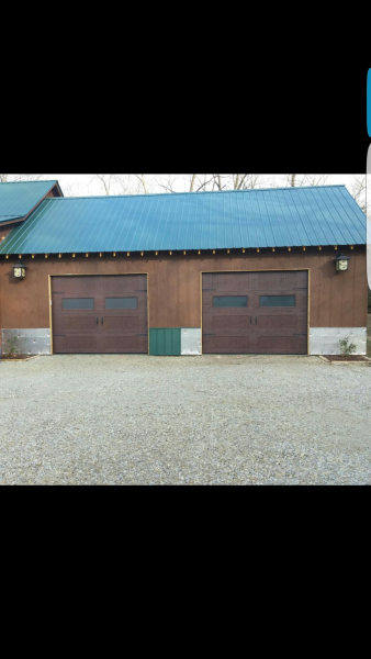 Brown sonoma ranch garage doors with frosted glass